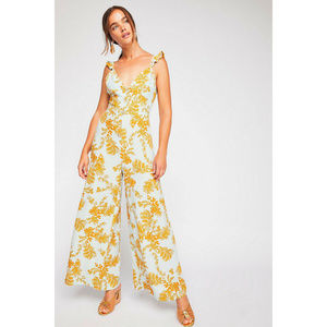 Free People Be The One Mint & Yellow Jumpsuit NWOT